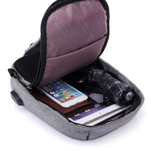 Backpack: Techy, Anti-theft External USB Charger Incline Shoulder Bag