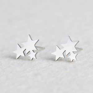 Popular & Trendy Silver Stainless Steel Earring Studs, Beautiful Assorted Designs!