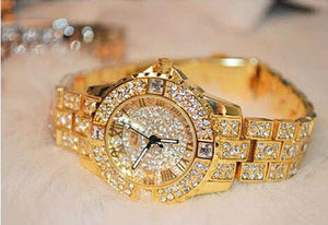 New Designer Rhinestone Mashali Watch w/ Diamond Luxury Band, Bracelet Wristwatch, Crystal Quartz