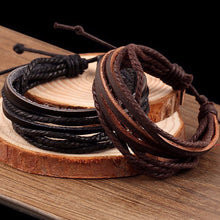 Load image into Gallery viewer, 100% Hand-Woven Leather Braided Rope Bracelet