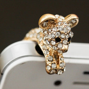 Bling Hanging Dog Cell Earphone Dust Plug, Gold w/Diamond Gemstones