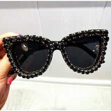 Load image into Gallery viewer, Jet Black Cat Woman Sunglasses, UV400, Encircled w/ Black Diamond Gemstones