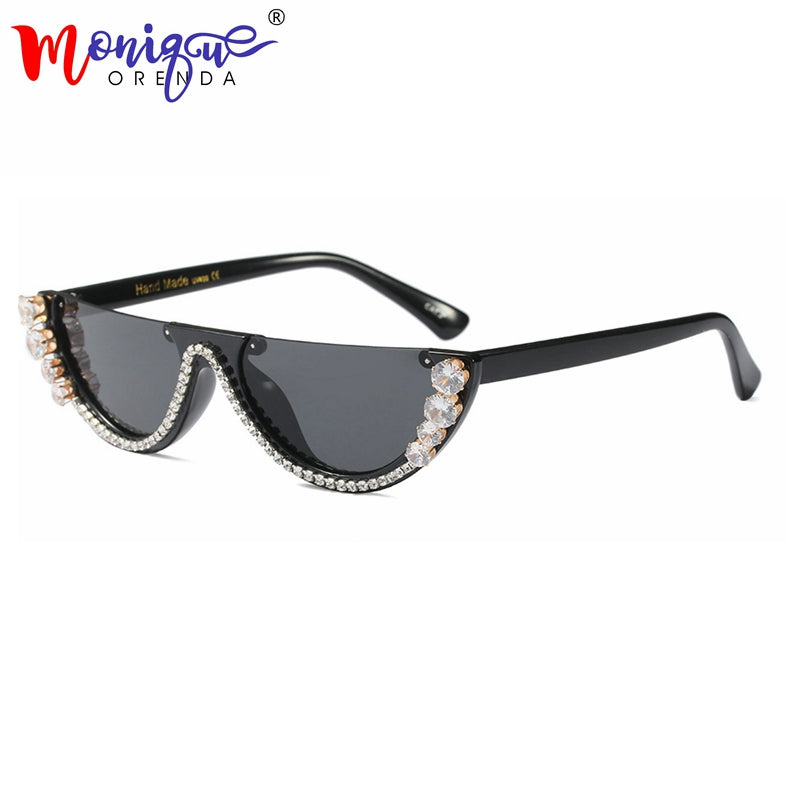 Timeless Hollywood Movie Starlet Sunglasses, UV400 Protection w/ Studded Rhinestones