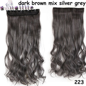 "Long Curly Wavy Clip-In Hair Extensions, 24"" of Synthetic Fiber, All Colors"