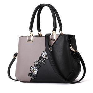 2019 Best-Seller! Classic & Timeless 2-Tone Fashion Handbags, Sequined Vertical Flowers, Tote