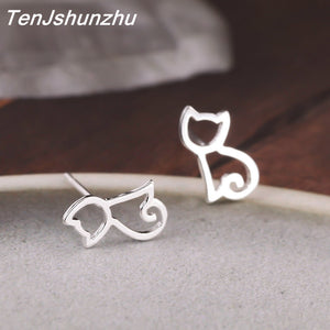 Attention Cat Lovers! 100% Sterling Silver Best Selling Fashion Cat Earrings
