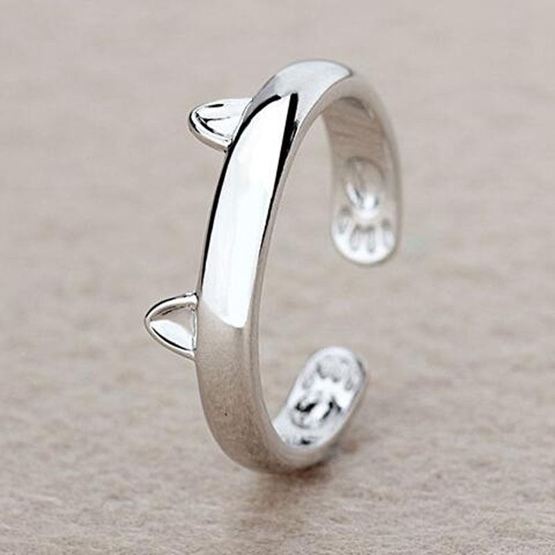 Cat Ring Fashion Jewelry, Ears & Paws, Silver, Adjustable