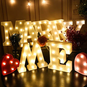 DIY 26 English Letters LED Night Light Marquee: Proposal, Wedding, Party, Event