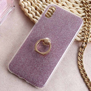 iPhone XR Glitter Cases w/ Gold Socket Ring