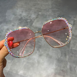 2019 Delicate Diamond-Studded Timeless Pastel Designer Sunglasses, UV400 Protection