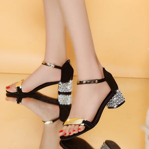 2019 Glamorous Jet Black Open-Toe Summer Sandals, embellished in Gold w/ Diamond-Studded Heal