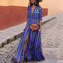 Load image into Gallery viewer, Rainbow Striped Beach Maxi Dress, Trendsetter