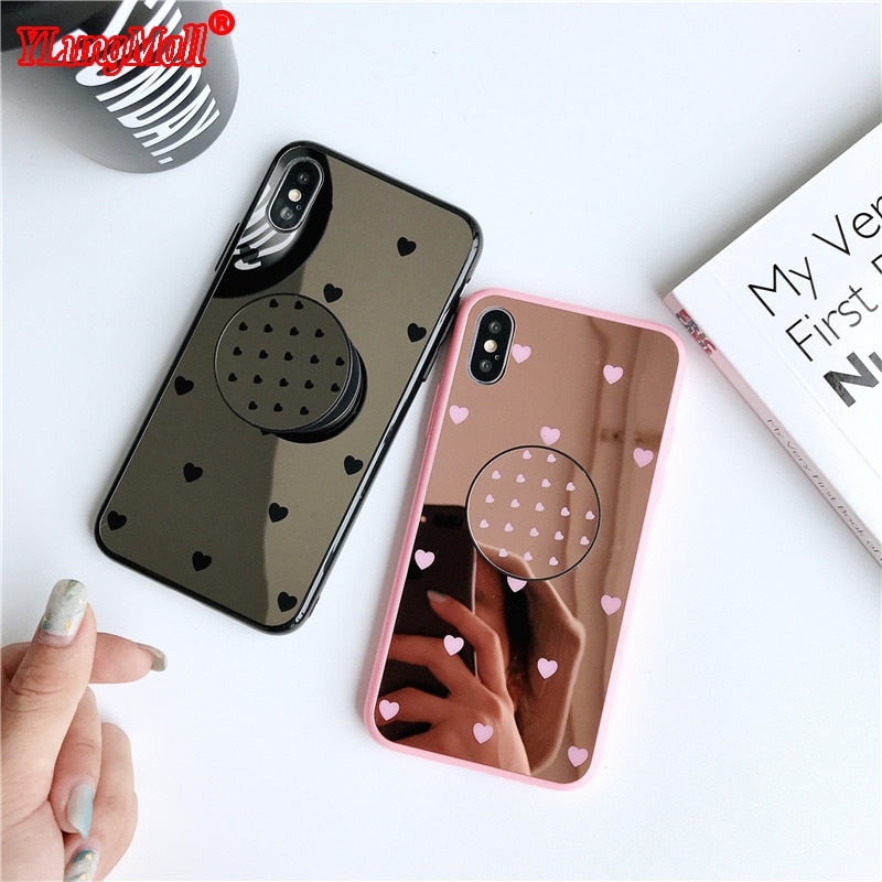 iPhone Mirror Phone Case w/ Ring Holder, Hearts, Tiled Designs