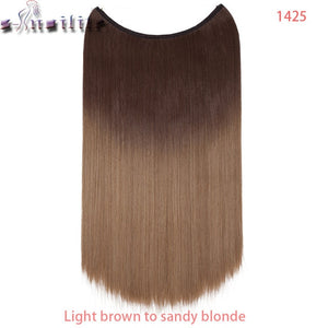 "20"" Concealed Halo Hair Extensions, Silky Straight, Real Natural Look"