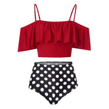 Load image into Gallery viewer, Women's Two-Piece Bathing Suit by Perimedes, Ruffle Top w/ High Waist Bottom
