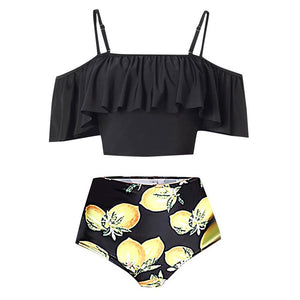 Women's Two-Piece Bathing Suit by Perimedes, Ruffle Top w/ High Waist Bottom