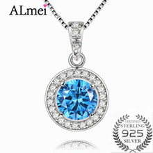 Load image into Gallery viewer, Halo Solitaire Sterling Silver Necklace & Pendant, Almei Blue Topaz, 18 Inches