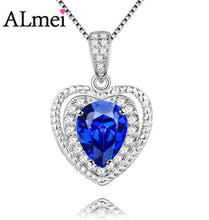 Load image into Gallery viewer, Natural Blue Tanzania Topaz Heart Love Necklace w/Sterling Silver Chain