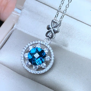 Blue Topaz & Diamond Gemstone Round Pendant Necklace, Sterling Silver