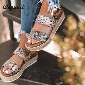 2019 Chic Summer Leopard-Inspired Sandal Wedges, Double Strap Front