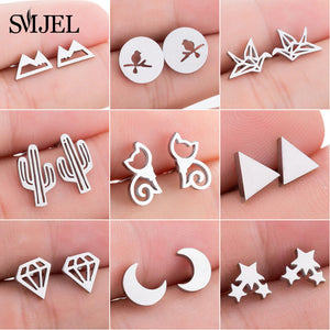 Assorted Trendy Fashion Earrings, Star, Moon, Cat, Cactus & More!