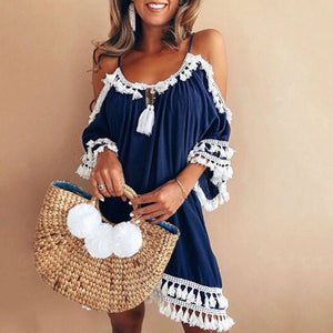 Sassy Summer Navy Beach Party Dress, Off-The-Shoulder w/White Tassels