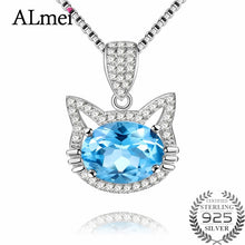 Load image into Gallery viewer, Cat Necklace, Blue Topez w/ Long Pendant Brand Crystal Chain
