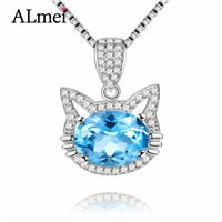 Cat Necklace, Blue Topez w/ Long Pendant Brand Crystal Chain