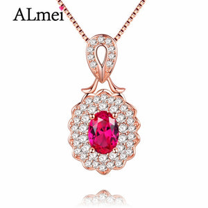 Ruby Red Topaz Charm Pendant Necklace, Rose Gold, Sterling Silver