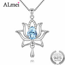 Load image into Gallery viewer, Light Cobalt Blue Topaz Lotus Flower Necklace, Sterling Silver