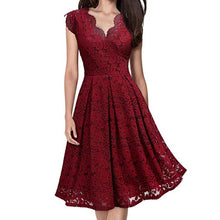 Load image into Gallery viewer, Vintage Red Lacey V-Neck Runway Party Dress, Sexy and Fun