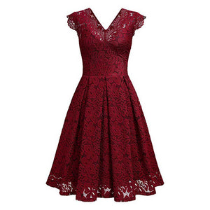 Vintage Red Lacey V-Neck Runway Party Dress, Sexy and Fun