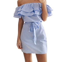 Load image into Gallery viewer, Flirty Summer Beach Party Sun Dress, Ruffled, Pin-Striped, Off Shoulder, Tie Belt