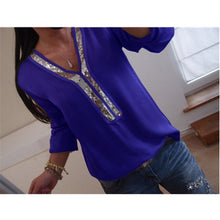 Load image into Gallery viewer, 2019 Women's Stunning V-Neck & Sequin-Stitched Shirt, 1/4 Length Sleeves, S-5XL
