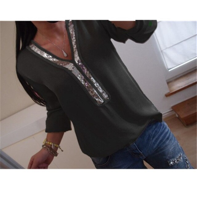 2019 Women's Stunning V-Neck & Sequin-Stitched Shirt, 1/4 Length Sleeves, S-5XL