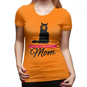 """Maine Coon Mom"" T-Shirt w/ Maine Coon Cat Print, 16 colors, S-XXL"