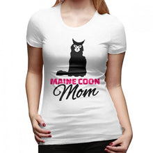 "Load image into Gallery viewer, ""Maine Coon Mom"" T-Shirt w/ Maine Coon Cat Print, 16 colors, S-XXL"