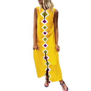 2019 Loose Linen Bohemian Triangle Print Summer Maxi Dress