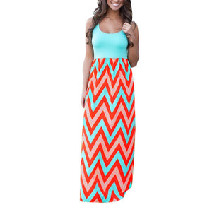 Fashionable Wavy-Striped Tank Top Maxi Sun Dress