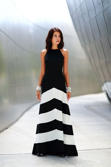 Black & White Summer Halter Evening Gown w/ Back Cross Straps