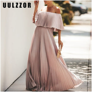 Timeless, Gorgeous Dusty Pink Off-the-Shoulder Chiffon Summer Gown, Pleated
