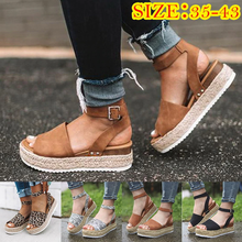 Load image into Gallery viewer, Summer 2019 Wedge Sandal Pumps w/ Ankle Buckle Strap