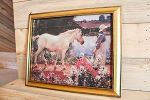 Vintage Art - Girl and Horse