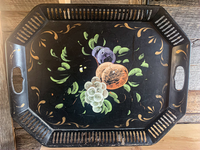 Hand Painted Black Tray