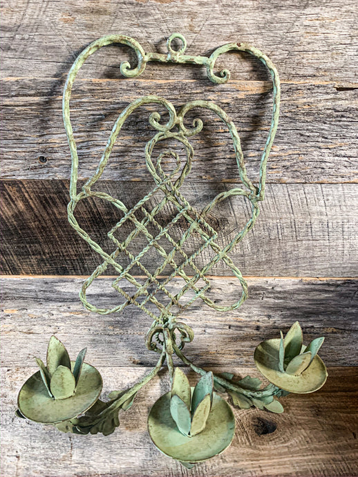 Green Metal Candle Sconce