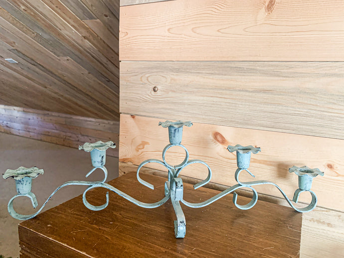 Turquoise Painted Candleholder