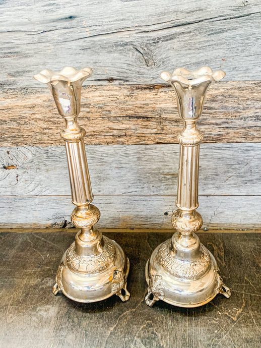 Silver Plated Tall Candlesticks
