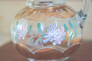 Floral Glass Pitcher
