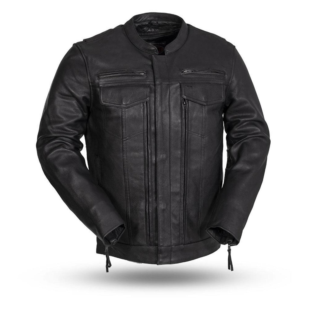 First Manufacturing Raider 1.2-1.3mm Diamond Naked Leather Motorcycle Jacket Armored Pockets For CE Rated Armor