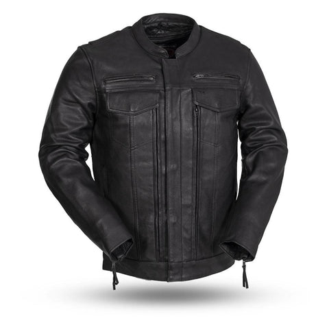 1.2-1.3mm Diamond Naked Leather Motorcycle Jacket Armored Pockets For CE Rated Armor